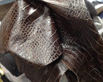 6-785.  Cocoa Brown Embossed Reptile Leather Cowhide Partial