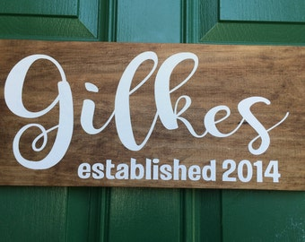 Personalized Wooden Family Name Sign Established Family Name Sign Personalized Name Sign Personalized Wedding Gift Personalized Anniversary
