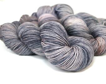 Hand Dyed Yarn, Merino Fingering Sock, Smoke Lavender Grey Gray