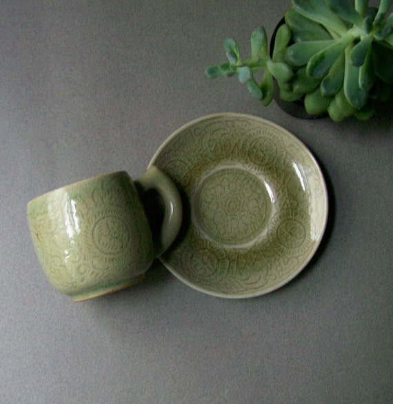 Vintage THAI CELADON Demitasse Cup and Saucer Celadon Green