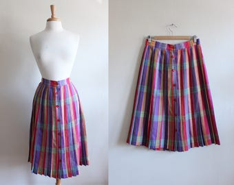 Vintage Bright Rainbow Plaid Midi Skirt