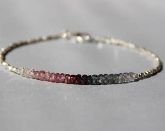 Spinel Bracelet with Karen Hill Silver, Multi-colored Spinel Bracelet, Super Skinny Garnet Bracelet, Dainty Beaded Gemstone Bracelet
