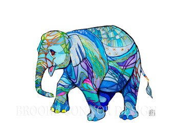 Happy Elephant with Blue Wrinkles