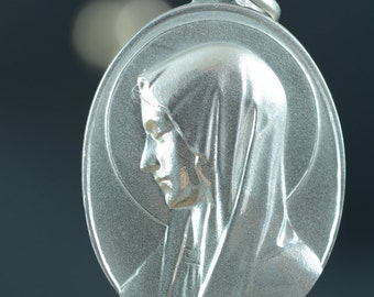 "Portrait of Holy Virgin Mary Vintage Silver Religious Medal Pendant on 18"" sterling silver rolo chain"
