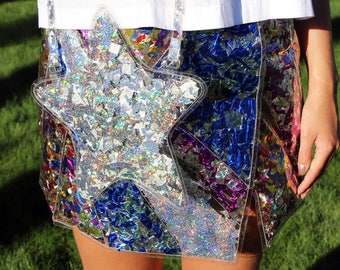 Silver Confetti Star Handbag