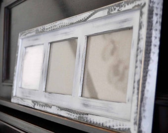 MULTI 3 Opening 4x6 distressed pine collage picture frame with the 4x6's in the landscape position...white...HANDMADE