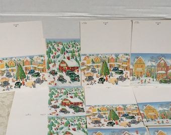 Vintage Christmas Cards By Hallmark / Christmas Tree cards / Winter Scene cards / Cards and Envelopes
