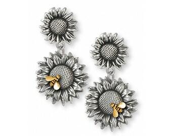 Sunflower Earrings Jewelry Silver And Gold Handmade Flower Earrings SF5-TNE