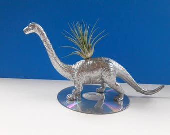 Handmade Upcycled Dinosaur Air Planter With CD Base, Dinoplanter, Air Plant, Repurposed Dinosaur Planter, Recycled, Made By Mod.