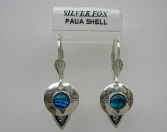 See-Thru Series- Silver and Stone Earrings w\/drop ( Paua Shell)