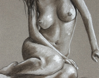 Print of a sketch of a seated nude woman, sensual pastel print, nude art