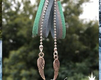 Green sky earrings