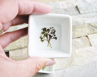 Tiny Flowers Ring Dish, Twig and Cone, Nature Dish, Jewelry Dish, Purple Ring Dish