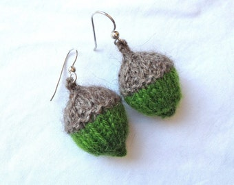 Acorn Earrings Cashmere Qivut Angora Knitted Exotic Luxury Handknit