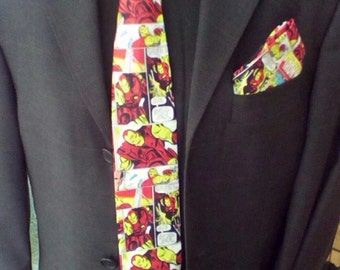 Handmade Iron Man Tie and Pocket Square Set