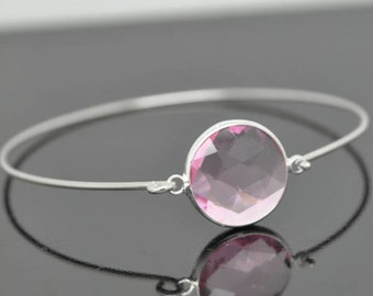 Birthstone Bangle, Sterling Silver Bangle, Birthstone Bracelet, Stackable Bangle, Charm Bangle, Bridesmaid Bangle, Bridesmaid jewelry