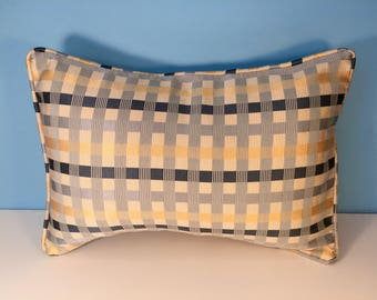 "12X18"" Decorative Geometric Corded Pillow Cover - Blue, Yellow, and Cream Plaid 12x18"