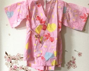 Toddler Kimono Costume, Cute Outfits For Girls, Pink Fish Design, Baby Kimono, Child Kimono, Baby Gifts, Baby Jinbei, Photo Prop Idea