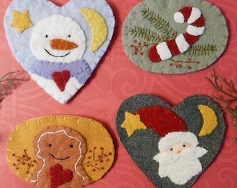 Christmas wintertime Wool Pins PATTERN PDF - embroidery snowman santa gingerbread man brooch jewelry candy cane pin primitive