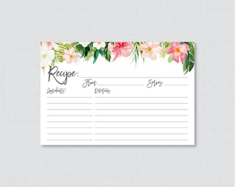 Tropical Bridal Shower Recipe Cards - Printable Recipe Card and Invitation Inserts, Hawaiian Luau Floral and Palm Leaf Recipe Cards 0032