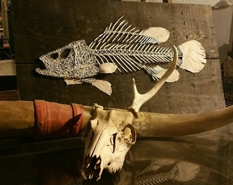Fish Skeleton String Art Nautical Fishing Theme