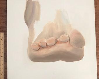 "Original Oil Painting, ""Toes"" 2'x2'"