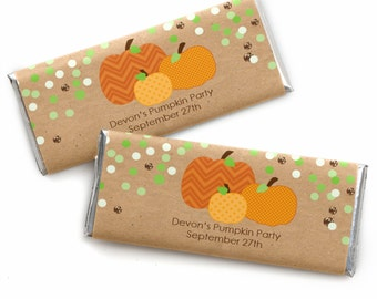 24 Pumpkin Patch-Fall or Thanksgiving Custom Candy Bar Wrappers Baby Shower, Birthday Party Favors