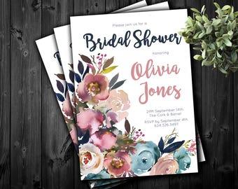 Bridal Shower Invitation dusty rose pink slate blue navy floral digital printable
