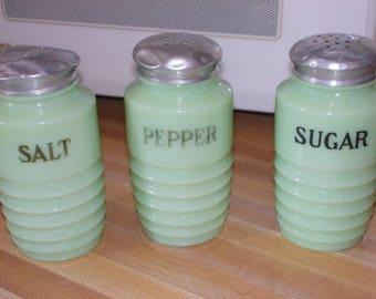 c-vintage jadeite salt pepper sugar shakers