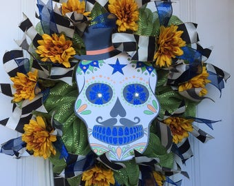 Day of the Dead, Dia de Los Muertes, Sugar Skull Wreath
