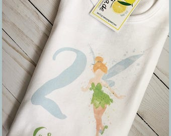 Tinkerbell birthday shirt with name for boy or girl