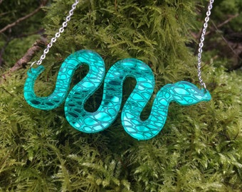 Laser Cut Acrylic Mirror Snake Necklace Statement Acrylic Necklace