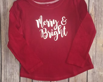 Merry and bright shirt, merry Christmas, happy holidays