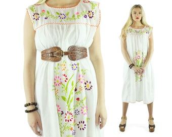 70s Floral Embroidered Dress Sleeveless Cotton Sundress  1970s Large L Hippie Boho Festival Fashion Muumuu Lounge Caftan Dress