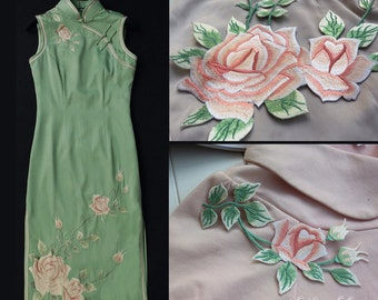 Light peach Rose Light green leaf Vintage Style Orchid Flower Applique, Iron On Patch Floral LARGE Patch Iron or Sew On patch Various Colors