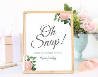 Instagram Sign, Hashtag Sign, Oh Snap Sign, Social Media, Share the Love Sign, Wedding Signs, Vintage Botanical | SUITE028