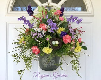 Spring Wreath-Spring Door Basket-Easter Wreath-Wildflower Wreath-Farmhouse Decor-Birds Nest Wreath-Herb Wreath-Cottage Decor-Country Wreath