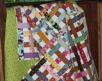 Handmade Quilt - Throw Quilt  - Lap Quilt - Modern Quilt - Colorful - Multicolor - Basket Weave  - Homemade  - Cotton