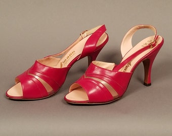1950's Vintage Red A'mano Slingback Heels, Red Leather Shoes, Vintage Open Toe Heel Shoes