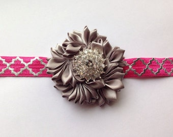 Grey and Hot Pink Girls Headband