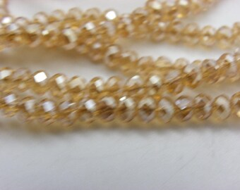 100 beads 4-5 mm Crystal faceted honey beige glossy shiny transparent glass