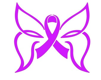 Simplistic Wing Butterfly Cancer Awareness Vinyl Decal, Breast Cancer Awareness Ribbon, Pink Awareness Ribbon, Remembrance Ribbon