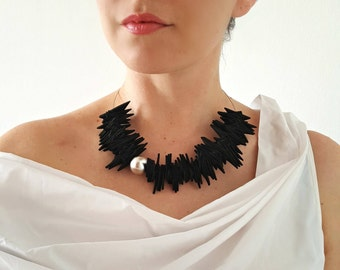 Statement black necklace Bib necklace Avantgarde necklace Modern necklace Contemporary necklace Gift for her Chunky necklace Unique necklace