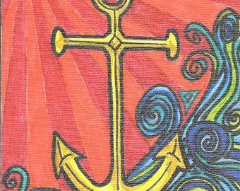 anchor notecard, anchor greeting card, ocean notecard, nautical card, blank inside card, anchor card, nautical note card, boat anchor card