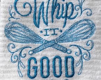 Whip It Good Kitchen Dish Towel Aqua Thread