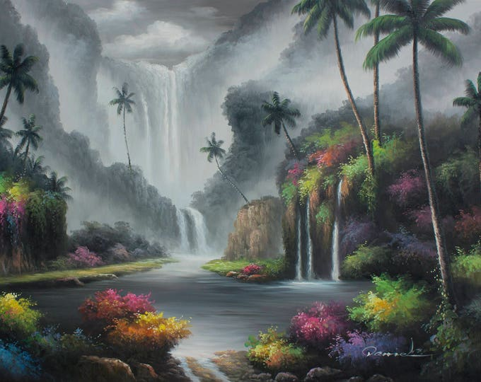 Waterfall Painting Oil on Canvas Wall Art Beautiful Decor of Hawaii