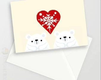 Polar Bear valentines/Wedding Anniversary A6 Greetings card