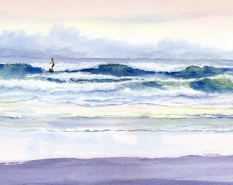 Riding Out the Storm giclee print, waves and surfer