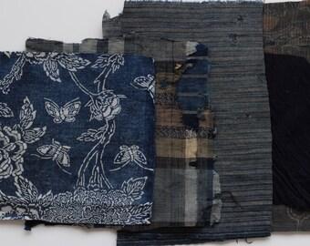 Boro fabric scrap, Sashiko, Indigo fabric, Japanese textile, Japanese fabric, vintage Kimono fabric, 20 PIECES /B