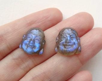 AA grade Flashy Labradorite Carved Mini Buddha Cabochons 13 mm One Matched Pair K6017